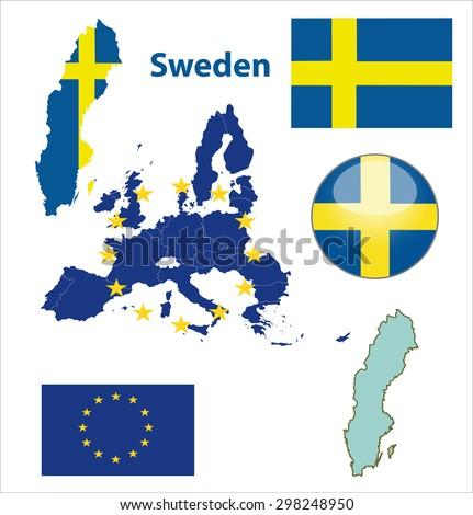 Sweden Map Flag Text Illustration Stock Illustration - Sweden map of country
