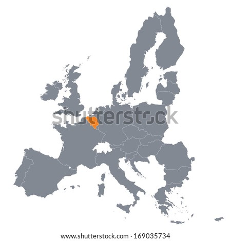 map of European Union with the indication of Belgium