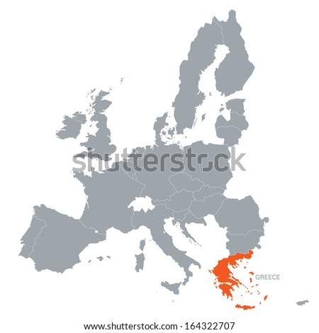 map of European Union with the indication of Greece