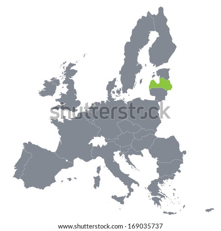 map of European Union with the indication of Latvia