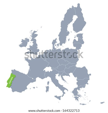map of European Union with the indication of Portugal