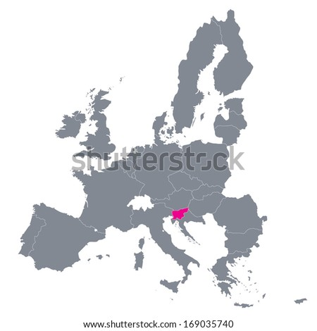 map of European Union with the indication of Slovenia