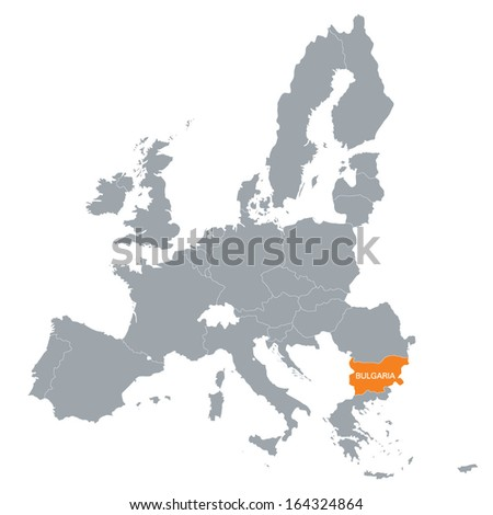 map of European Union with the location of Bulgaria - stock vector