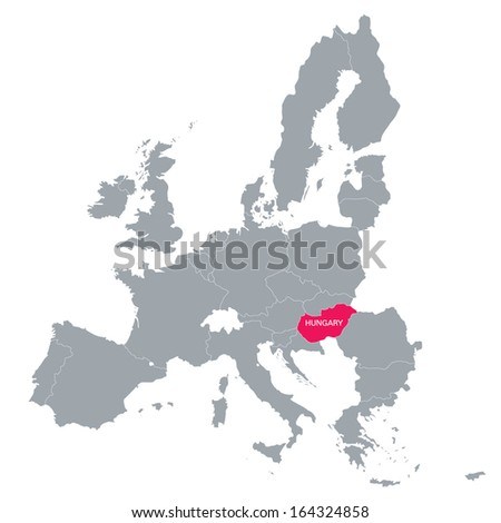 map of European Union with the location of Hungary