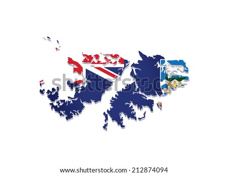 map of falkland islands with the image of the national flag