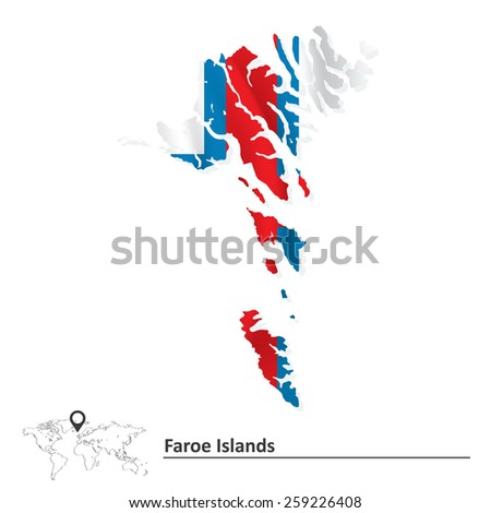 Map of Faroe Islands with flag - vector illustration - stock vector