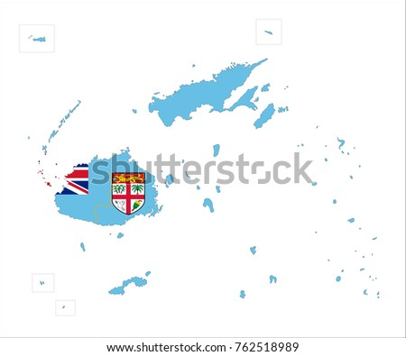Map fiji flag isolated on white stock vector 762518989 shutterstock map of fiji with flag isolated on white background gumiabroncs Choice Image