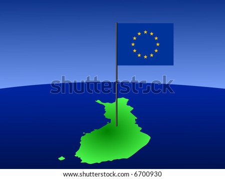 map of Finland and European Union flag on pole illustration