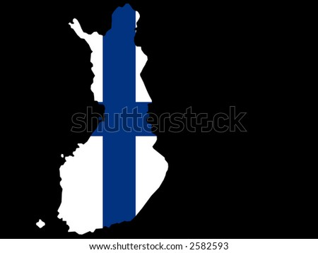 map of Finland and Finnish flag illustration