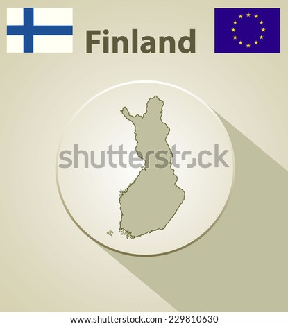 Map of Finland Including: flag of Finland And European Union. - stock vector