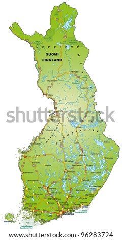 Map of Finland with freeways - stock vector