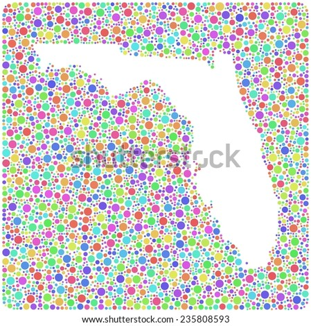 Map of Florida - USA - into a square icon. Mosaic of colored circles