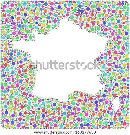 Map of France into a square icon. Mosaic of harlequin circles - stock vector