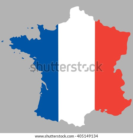 Map of France with an official national flag - stock vector
