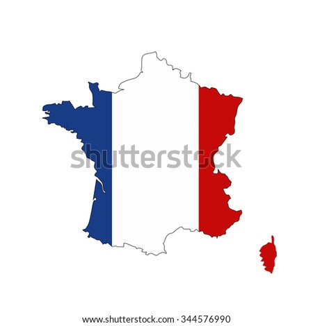 Map of France with national flag isolated on white background