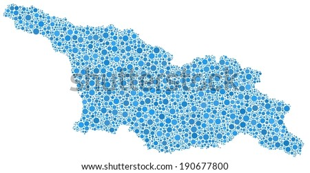 Map of Georgia - Eurasia - in a mosaic of blue bubbles