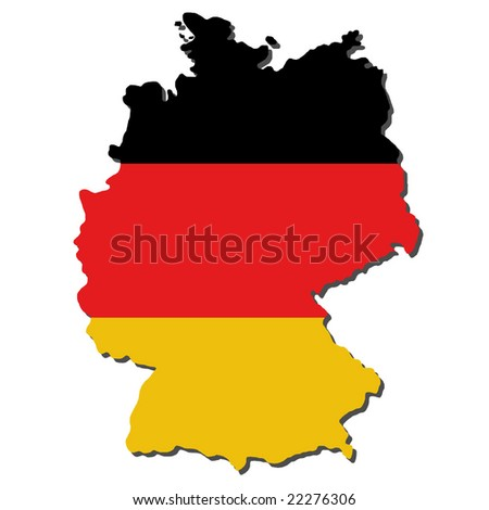map of Germany and German flag illustration