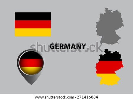 Map of Germany and symbol - stock vector