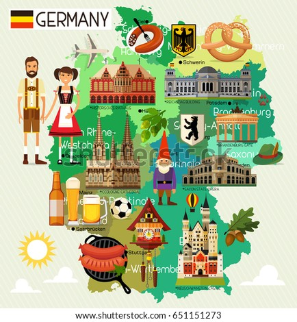 Map Germany Travel Iconsgermany Travel Map Stock Vector - Germany map cartoon