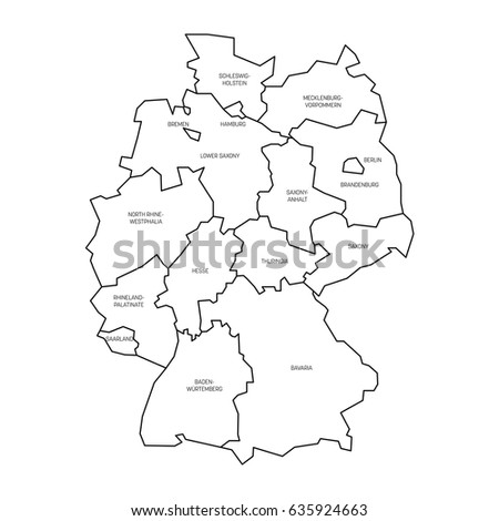 map of germany devided to 13 federal states and 3 city states berlin