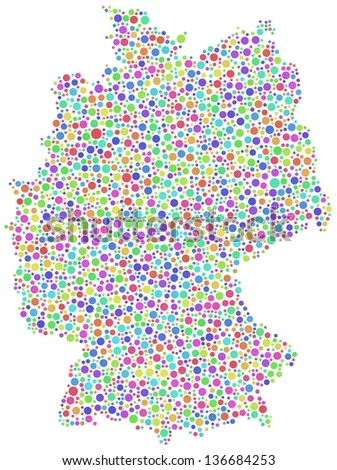 Map of Germany - Europe - in a mosaic of harlequin circles
