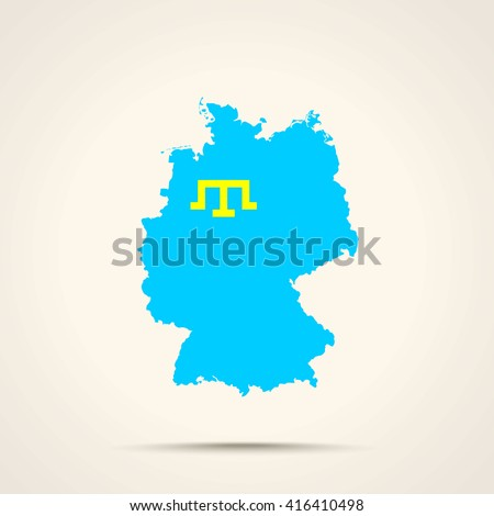 Map of Germany in Crimean Tatars flag colors