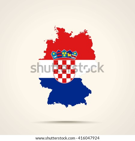 Map of Germany in Croatia flag colors - stock vector