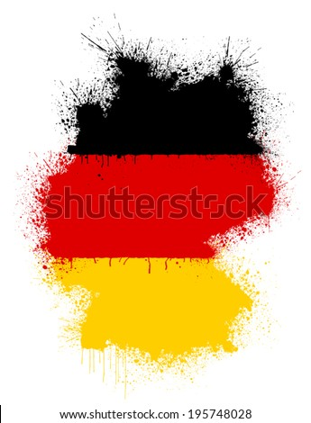 Map of Germany in form of a paint splatter in colors of German flag - stock vector
