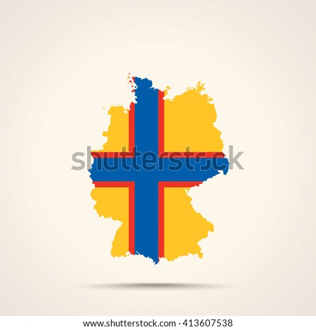 Map of Germany in Ingria (Ingermanland) flag colors