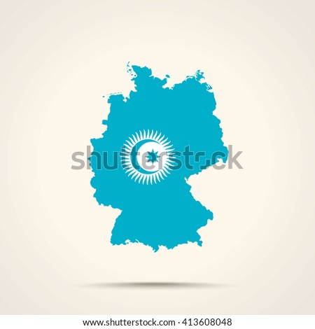 Map of Germany in Turkic Council flag colors