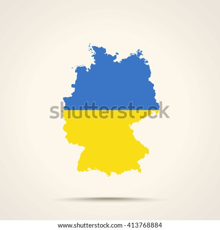Map of Germany in Ukraine flag colors