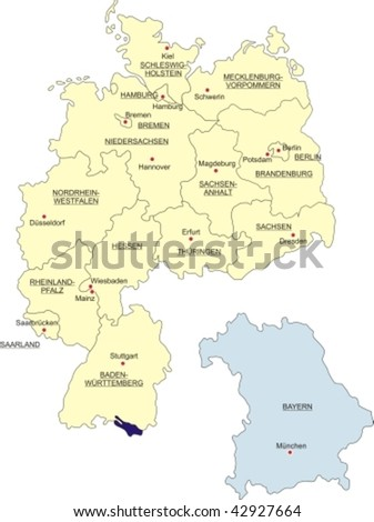Map of Germany, national boundaries and national capitals; Bavaria cut out and silhouetted