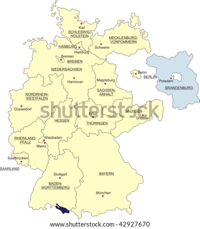 Map of Germany, national boundaries and national capitals; Brandenburg cut out and silhouetted