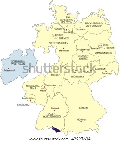 Map of Germany, national boundaries and national capitals; North Rhine-Westphalia cut out and silhouetted