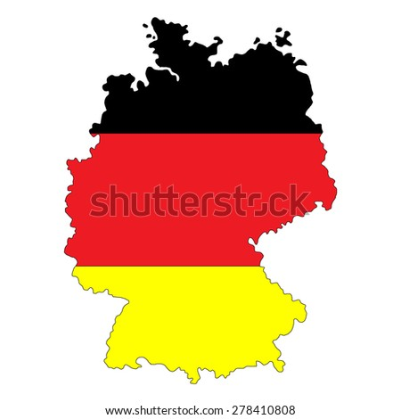 Map of Germany painted in the colors of the national flag