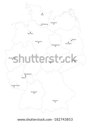 map of germany with states cities en names on white