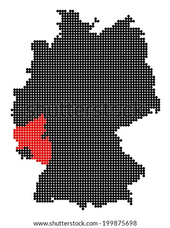 Map of Germany with stylized map of Rhineland-Palatinate made from black and red dots (vector) - stock vector