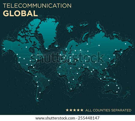 Map of Global Telecommunications (All countries separated)