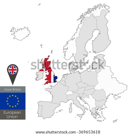 Map of Great Britain with an official flag. Location on European Union map - stock vector