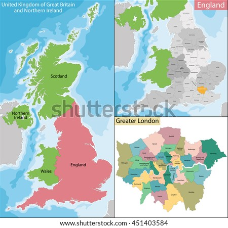 Map of Greater London - stock vector