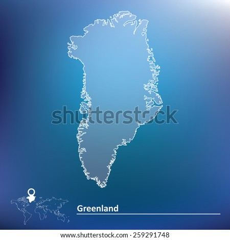 Map of Greenland - vector illustration - stock vector
