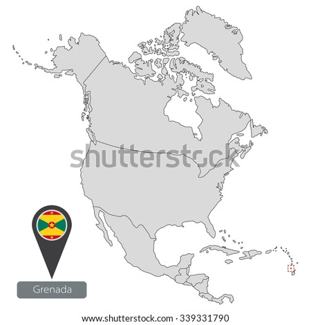 Map Grenada Official Flag Location North Stock Vector 339331790