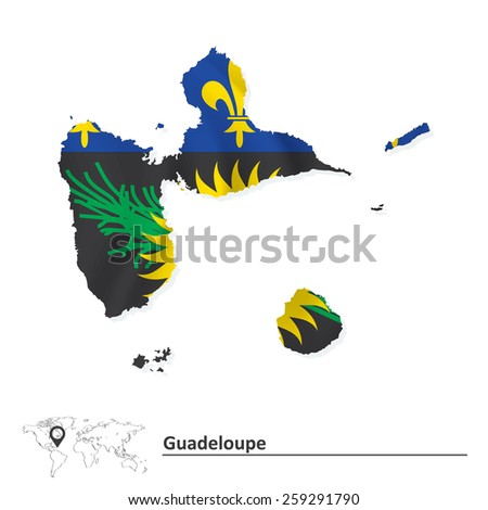 Map of Guadeloupe with flag - vector illustration - stock vector