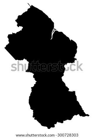 Map of Guyana isolated on white background. South America.