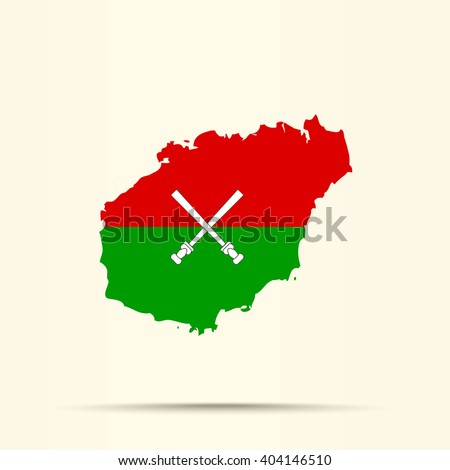 Map of Hainan in Hainan flag colors - stock vector