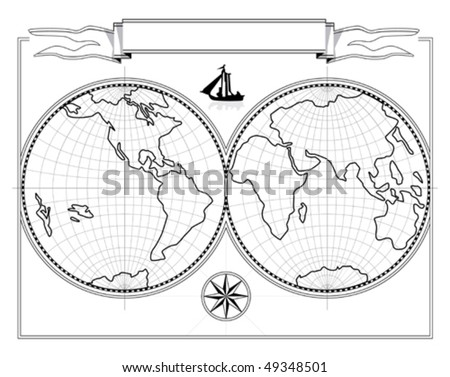 Map of hemispheres the drawing. The vector document. It is possible to change the size without illustration deterioration. - stock vector