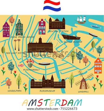 Map Holland Drawn By Hand Main Stock Vector 2018 755226673
