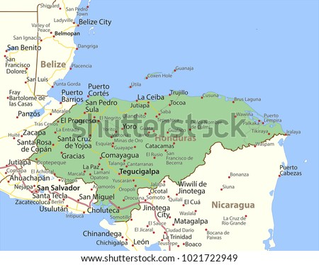 Map honduras shows country borders urban vector de stock1021722949 map of honduras shows country borders urban areas place names and roads gumiabroncs Gallery