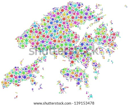 Map of Hong Kong - Asia - in a mosaic of harlequin circles. A number of 2648 little squares are accurately inserted into the mosaic. White background. - stock vector