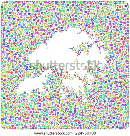 Map of Hong Kong - Asia - into a square icon. Mosaic of colored circles
